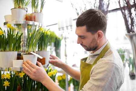 floristry: people, business, sale and floristry concept - florist man setting flowers at flower shop Stock Photo