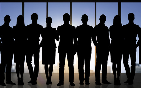 professional people: business, teamwork and people concept - business people silhouettes over office background