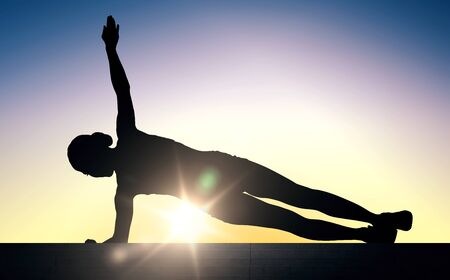plank: fitness, sport, exercising, training and people concept - woman doing plank exercise on stairs over sun light background