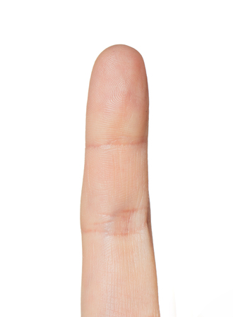 one finger: close up of hand pointing one finger up Stock Photo