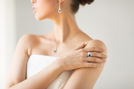 close up of beautiful woman with finger ring Stock Photo