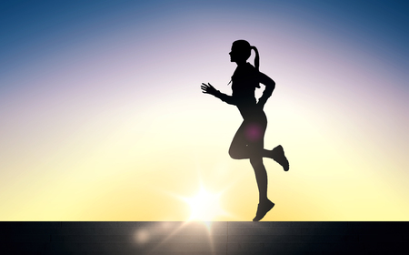 fitness, sport, people and healthy lifestyle concept - happy young sports woman running outdoors Stock Photo