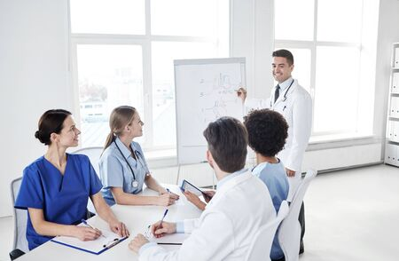 medical drawing: medical education, health care, medical education, people and medicine concept - group of happy doctors or interns with mentor meeting and drawing on flip board at hospital
