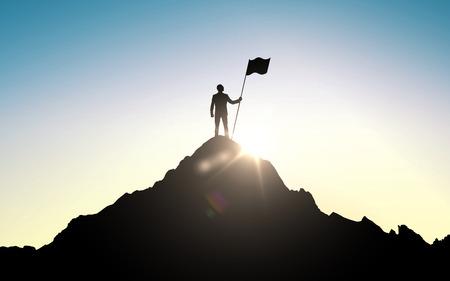 コンセプト: ビジネス、成功、リーダーシップ、成果と人コンセプト - 空と太陽を山の頂上の旗を持ったビジネスマンのシルエット ライトの背景