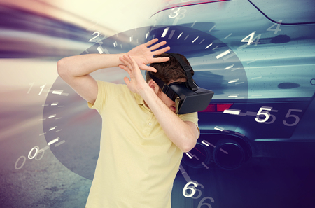 mediated: 3d technology, virtual reality, entertainment and people concept - scared young man with virtual reality headset or 3d glasses playing car racing game over tachometer and street race background
