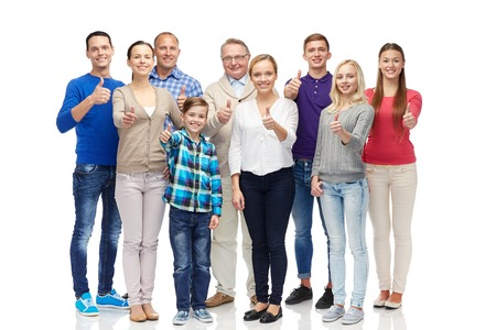 three generations of women: gesture, family, generation and people concept - group of smiling men, women and boy showing thumbs up