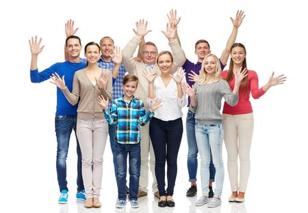 three generations of women: family, gender, generation and people concept - group of smiling men, women and boy waving hands