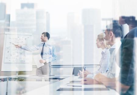 Concept d'entreprise, de planification, de personnes et de travail d'équipe - groupe de personnes souriantes réunis lors de la présentation au bureau