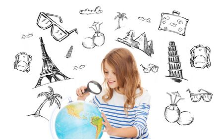 human geography: people, tourism, vacation and summer holidays concept - little student girl looking at globe with magnifier over touristic doodles