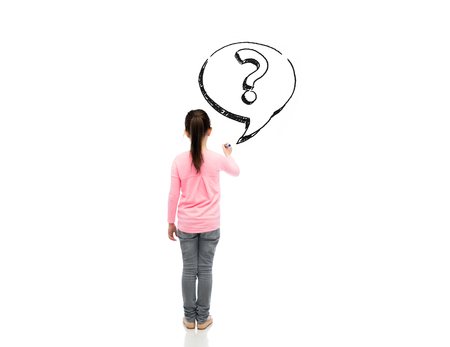 view girl: childhood, preschool education, information, learning and people concept - little girl with marker drawing question mark from back Stock Photo