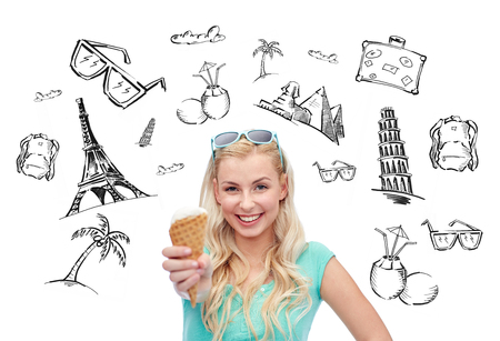 nice food: people, tourism, vacation and summer holidays concept - young woman or teenage girl in sunglasses eating ice cream over touristic doodles Фото со стока
