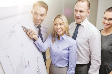 flip chart: business and office concept - smiling business team with charts on flip board having discussion