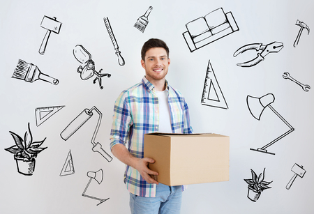 nice accommodations: moving, housing, repair, accommodation and people concept - smiling young man with cardboard box at home over doodles