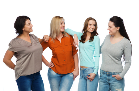 friendship, fashion, body positive, diverse and people concept - group of happy different size women in casual clothes Stock Photo