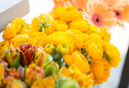 floristry: gardening, floristry, sale, holidays and flora concept - close up of beautiful yellow ranunculus flowers at flower shop