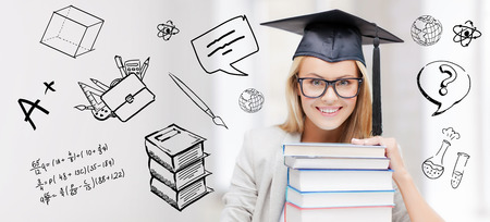 school board: education, school, graduation and people concept - happy student girl or woman in graduation cap with stack of books over doodles