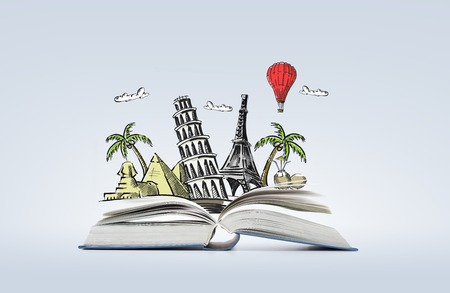education, travel , fiction and literature concept - open book with landmarks drawing
