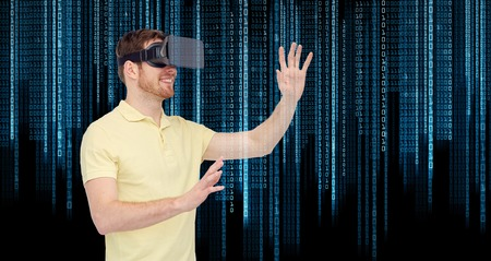 mediated: 3d technology, virtual reality, entertainment and people concept - happy young man with virtual reality headset or 3d glasses playing game over binary code background