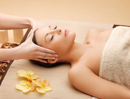 remedial: picture of happy beautiful woman in massage salon