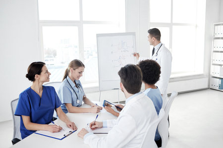 medics: medical education, health care, medical education, people and medicine concept - group of happy doctors or interns with mentor meeting and drawing on flip board at hospital