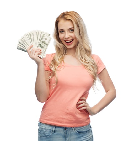 usd: money, finances, investment, saving and people concept - happy young woman with dollar cash money