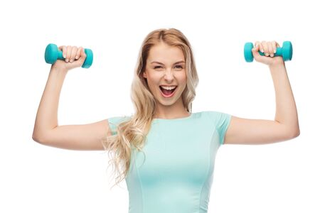isolated woman: fitness, sport, exercising and people concept - smiling beautiful sporty woman with dumbbell Stock Photo