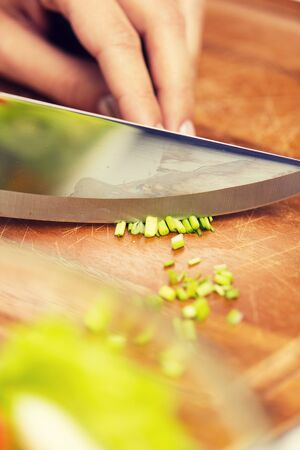 kitchenware: healthy eating, cooking, vegetarian food, kitchenware and people concept - close up of woman chopping green onion with knife on wooden cutting board Stock Photo
