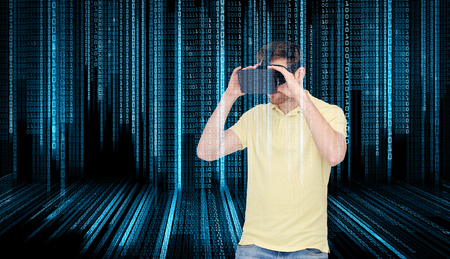 game over: 3d technology, virtual reality, entertainment and people concept - happy young man with virtual reality headset or 3d glasses playing game over binary code background