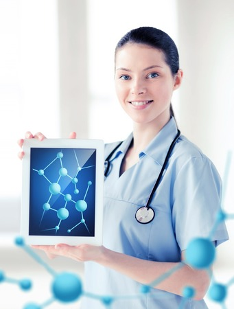 a medical technology: healthcare, hospital, research, science and medical concept - female doctor with tablet pc and molecules