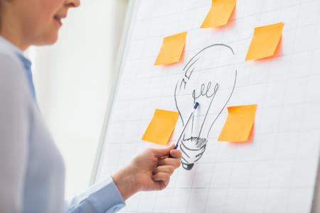 affaires, les gens, idée, le démarrage et l'éducation concept - gros plan de femme pointant vers le dessin ampoule sur flip chart au bureau