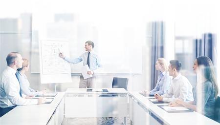 affaires, les gens et concept de travail d'équipe - un groupe de sourire des gens d'affaires réunion sur présentation dans le bureau