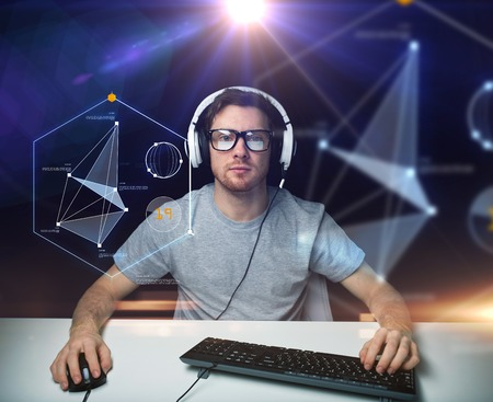 computer programming: technology, cyberspace, programming and people concept - hacker man in headset and eyeglasses with pc computer keyboard over virtual projections