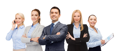 business, teamwork, office and people concept - group of happy business people Stock Photo