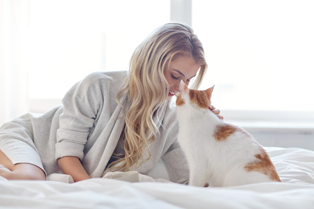 comfort: pets, morning, comfort, rest and people concept - happy young woman with cat in bed at home