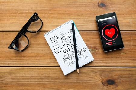 concept de soins de santé et de la technologie - gros plan du système de dessin dans le bloc-notes avec un crayon, avec une fréquence cardiaque sur smartphone et des lunettes sur la table en bois