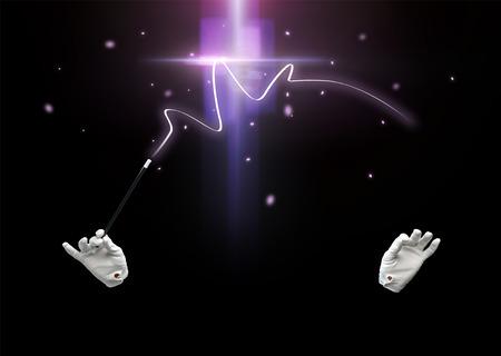 alzando la mano: rendimiento, ilusión, circo, espectáculo concepto - Mago manos en guantes con la varita mágica que ilumina mostrando truco sobre fondo negro Foto de archivo