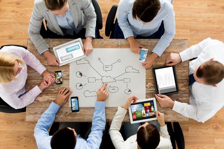 비즈니스, 사람, 기술, 클라우드 컴퓨팅 및 팀 작업 개념 - 가까운 사무실에서 테이블에 앉아 스마트 폰과 태블릿 PC 컴퓨터와 크리에이티브 팀의 최대 스톡 콘텐츠