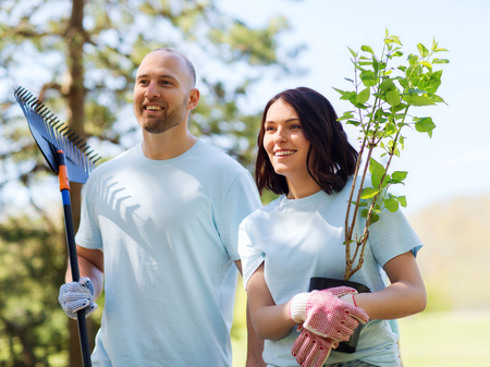 trees services: volunteering, charity, people and ecology concept - happy couple volunteers with tree seedlings and rake walking in park Stock Photo