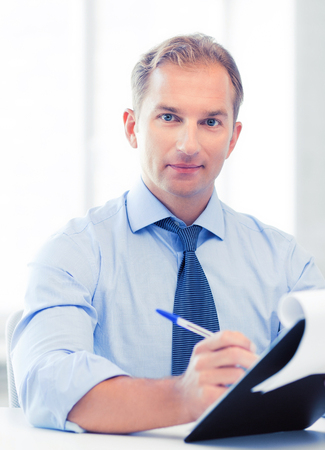picture of handsome businessman taking employment inteview Stock Photo