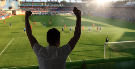 entertainment background: leisure, sport, entertainment and people concept - man watching soccer of football game and supporting team over stadium background