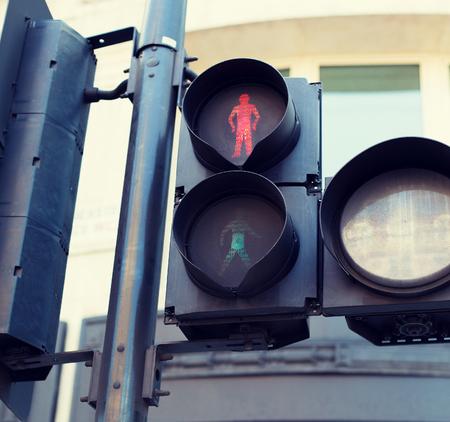 semaforo peatonal: highway code, traffic and city life concept - red pedestrian traffic lights