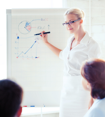 business development: businesswoman pointing at graph on flip board in office