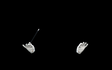conjuring: performance, illusion, circus, show concept - magician hands in gloves with magic wand showing trick over black background
