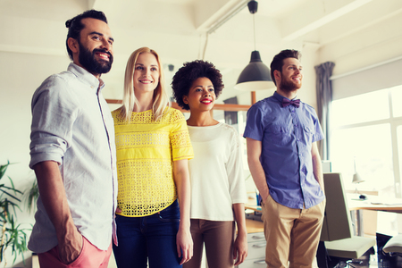 group of workers: business, startup and office concept - happy business team in office