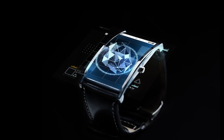 watch over: modern technology, science, object and media concept - close up of black smart watch with polygonal shape projection over screen
