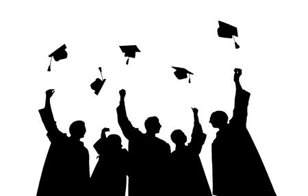 graduacion: la educación, la graduación y el concepto de la gente - siluetas de muchos estudiantes felices en vestidos que lanzan en el aire birretes Foto de archivo