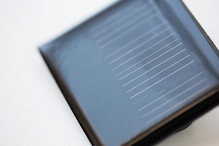 utilization: recycling, energy, power, environment and ecology concept - close up of solar battery or cell Stock Photo