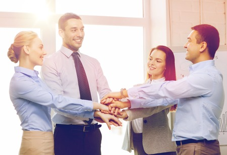 business office: success, business, office and winning concept - happy business team celebrating victory in office