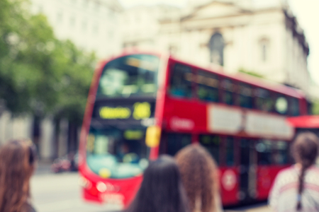 citylife: city life, backgrounds and transport concept - city street with red double decker bus in london Stock Photo