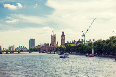 britain: England, London - Big Ben, the Houses of Parliament and Westminster bridge over Thames river